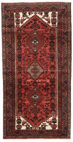 Hamadan Tapis 94X184 D'orient Fait Main Tapis Couloir Rouge Foncé/Marron Foncé (Laine, Perse/Iran)