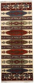 Turkaman Tapis 87X210 D'orient Fait Main Tapis Couloir Marron Foncé/Marron Clair (Laine, Perse/Iran)