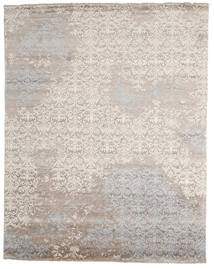 Damask Indo Tapis 241X305 Moderne Fait Main Gris Clair/Beige (Laine/Soie De Bambou, Inde)