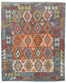 Kilim Afghan Old Style Tapis 155X196 D'orient Tissé À La Main Gris Foncé/Rouge Foncé (Laine, Afghanistan)