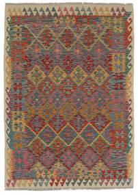 Kilim Afghan Old Style Tapis 124X170 D'orient Tissé À La Main Marron Foncé/Noir (Laine, Afghanistan)