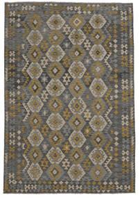 Kilim Afghan Old Style Tapis 209X303 D'orient Tissé À La Main Noir (Laine, Afghanistan)