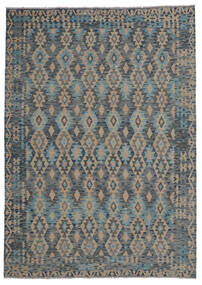 Kilim Afghan Old Style Tapis 210X297 D'orient Tissé À La Main Noir/Marron Foncé (Laine, Afghanistan)