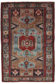 Hamadan Tapis 132X205 D'orient Fait Main Noir/Marron Foncé (Laine, Perse/Iran)