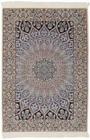 Naïn 9La Tapis 95X146 D'orient Fait Main Noir/Marron Foncé (Laine/Soie, Perse/Iran)
