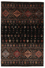 Shabargan Tapis 132X196 Moderne Fait Main Noir/Marron Foncé (Laine, Afghanistan)