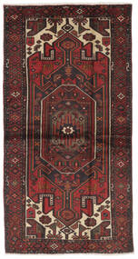 Hamadan Tapis 107X207 D'orient Fait Main Noir/Marron Foncé (Laine, Perse/Iran)