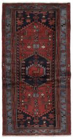 Hamadan Tapis 97X187 D'orient Fait Main Noir/Marron Foncé (Laine, Perse/Iran)