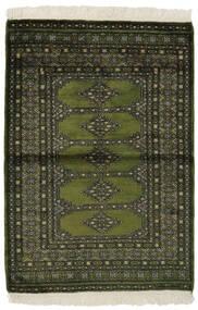 Pakistan Boukhara 3Ply Tapis 99X145 D'orient Fait Main Noir/Vert Foncé (Laine, Pakistan)