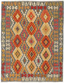 Kilim Afghan Old Style Tapis 145X193 D'orient Tissé À La Main Vert Foncé/Marron Foncé (Laine, Afghanistan)