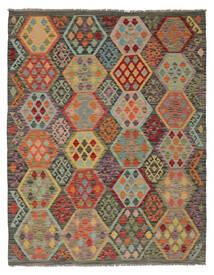 Kilim Afghan Old Style Tapis 160X204 D'orient Tissé À La Main Marron Foncé/Vert Foncé (Laine, Afghanistan)