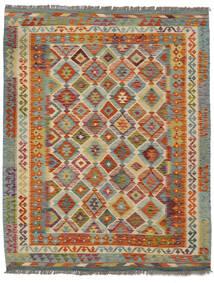 Kilim Afghan Old Style Tapis 154X192 D'orient Tissé À La Main Marron Foncé/Vert Foncé (Laine, Afghanistan)