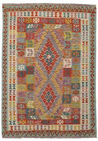 Kilim Afghan Old Style Tapis 143X203 D'orient Tissé À La Main Vert Foncé/Marron Foncé (Laine, Afghanistan)
